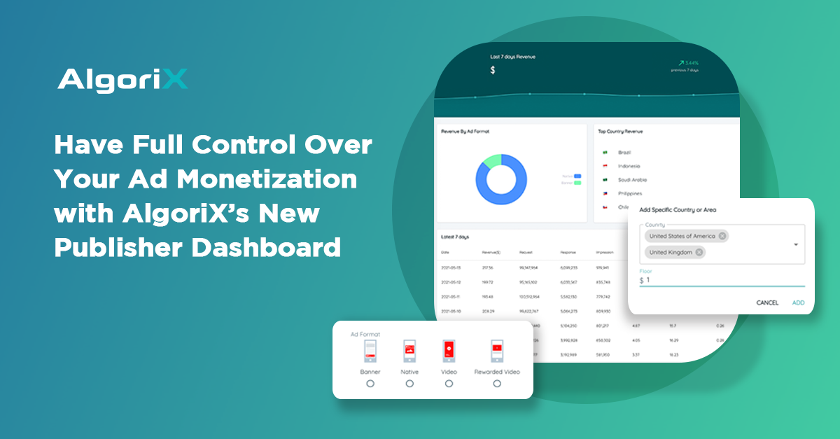 AlgoriX's new dashboard give publishers better control over their monetization